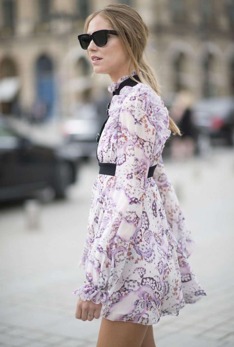 PARIS, FRANCE - JULY 04:  Chiara Ferragni is wearing a dress from Giambattista Valli seen in the streets of Paris during Haute Couture F/W 2016/2017 on July 4, 2016 in Paris, France.  (Photo by Timur Emek/Getty Images)